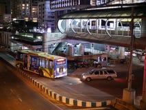 BRT Sathon station. Bangkok, Thailand-April 13, 2017:The Bangkok BRT is a bus rapid transit system in Bangkok, Thailand.The system`s island platform is accessed Royalty Free Stock Photo