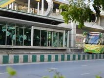 BRT Sathon station. Bangkok, Thailand-April 12, 2017:The Bangkok BRT is a bus rapid transit system in Bangkok, Thailand.The system`s island platform is accessed Royalty Free Stock Photo