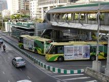 BRT Sathon station. Bangkok, Thailand-April 12, 2017:The Bangkok BRT is a bus rapid transit system in Bangkok, Thailand.The system`s island platform is accessed Royalty Free Stock Photos