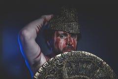 Bärtiger Mannkrieger mit Metallsturzhelm und Schild, wildes Viking Stockbild