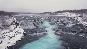 Bruararfoss waterfall stock video footage