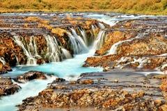 Bruarfoss瀑布在冰岛 库存图片