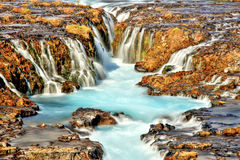 Bruarfoss瀑布在冰岛 免版税库存照片