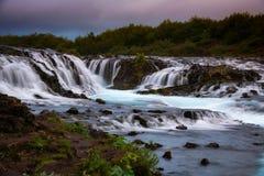 Bruarfoss瀑布 蓝色瀑布在冰岛 图库摄影
