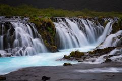 Bruarfoss瀑布 蓝色瀑布在冰岛 免版税图库摄影