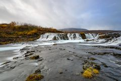 Bruarfoss in Iceland, landscape at sunset Royalty Free Stock Photos
