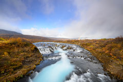 Bruarfoss in Iceland, the Mystery of the blue Waterfall. Royalty Free Stock Images