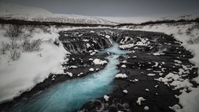 Bruarfoss waterfall in a cold winter day Royalty Free Stock Image