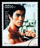 Bruce Lee Postage Stamp imagenes de archivo