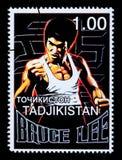 Bruce Lee Postage Stamp. TADJIKISTAN - CIRCA 2000: A postage stamp printed in Tadjikistan showing Bruce Lee, circa 2000 Royalty Free Stock Photography