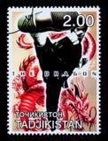 Bruce Lee Postage Stamp. TADJIKISTAN - CIRCA 2000: A postage stamp printed in Tadjikistan showing Bruce Lee, circa 2000 Royalty Free Stock Photo