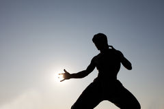 Bruce lee's statue with sun share in Hong Kong Stock Images