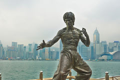 The Bruce Lee sculpture. The photo was taken in Hong Kong,China stock photos