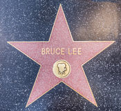 Bruce Lee star. HOLLYWOOD - OCTOBER 8, 2016: Bruce Lees star on Hollywood Walk of Fame in Hollywood, California. This star is located on Hollywood Blvd. and is Stock Images