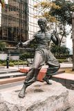 Bruce Lee statue in garden of stars in Hong Kong stock image