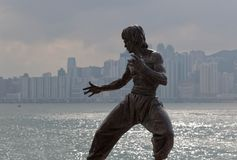 Bruce Lee statue. Tsim Sha Tsui. Hong Kong. Royalty Free Stock Images