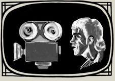 Bruce Lee untersucht die Filmkamera Vektor Abbildung