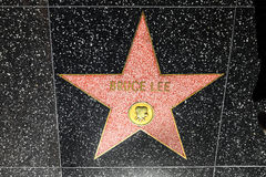 Bruce Lees Stern auf dem Hollywood-Weg des Ruhmes in Los Angeles Stockbild