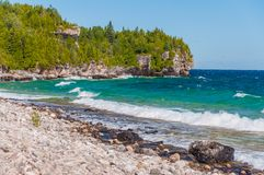 Lake Huron in Bruce Peninsula National Park, Ontario, Canada. Bruce Peninsula National Park of Canada. Located at Georgian Bay, a large bay of Lake Huron, on the royalty free stock image