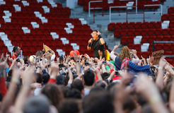 Bruce springsteen, the Boss at concert. Gijon Asturias, Spain. June 26, 2013. Bruce Springsteen, the Boss,  concert with the E Street Band, in Molinon Stadium Royalty Free Stock Image