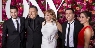 Bruce Springsteen and Family at 2018 Tony Awards. Bruce Springsteen and family arrive on the red carpet for the 72nd Annual Tony Awards held at Radio City Music Royalty Free Stock Image