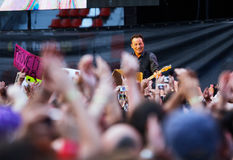 Bruce springsteen, o chefe no concerto foto de stock