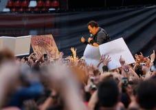 Bruce springsteen på konserten Royaltyfria Bilder