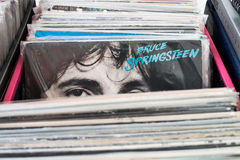 Bruce Springsteen vinyl. Looking at you from vinyl collection stock photos