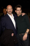 Bruce Willis,Colin Farrell. Actors BRUCE WILLIS (left) & COLIN FARRELL at the world premiere, in Los Angeles, of their new movie Hart's War. 12FEB2002.  Paul Royalty Free Stock Photo