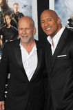 Bruce Willis,Dwayne Johnson Stock Images