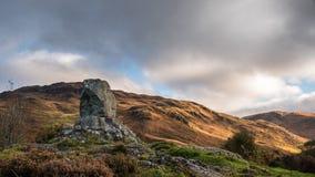Bruces石头,幽谷Trool,苏格兰 免版税库存照片