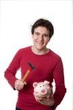 Bruch des jungen Mannes die piggy Querneigung Lizenzfreie Stockfotografie