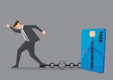 Bruch geben Kreditkarte-Schuld-von der Begriffsvektor-Illustration frei stock abbildung
