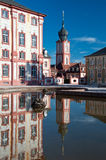 Bruchsal palace and church tower, Germany Royalty Free Stock Photos