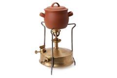 Bruciatore del cherosene e vaso ceramico Fotografie Stock Libere da Diritti