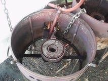 Bruciatore a gas con il parabrezza del metallo Fotografia Stock