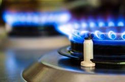 Bruciatori a gas naturali della stufa Fotografia Stock