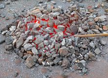Bruciatura d'accensione calda dei in tensione-carboni fotografia stock libera da diritti
