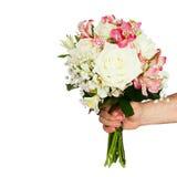 Brud- bukett av isolerade blommor Arkivfoto
