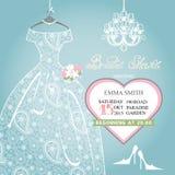 Brud- duschinbjudan Att gifta sig snör åt på klänningen royaltyfri illustrationer