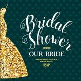 Brud- duschinbjudan med bröllopsklänningen Fotografering för Bildbyråer