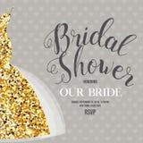 Brud- duschinbjudan med bröllopsklänningen Royaltyfri Foto