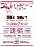 Brud- duschinbjudankort med den körsbärsröda blomningen Royaltyfria Bilder