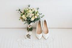 Brud i den vita klänningen Arkivfoton