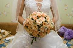 Brud i den vita klänningen Royaltyfria Bilder