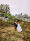 Brud i en vit klänning med brudgummen som tillsammans går på bakgrund av steniga Carpathian berg Arkivfoton