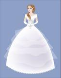 Brud i en vit spets- klänning Arkivfoto