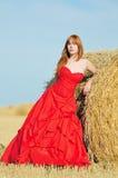 Brud i röd bröllopsklänning i ett fält Fotografering för Bildbyråer