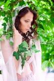 Brud i trädgård Royaltyfria Foton