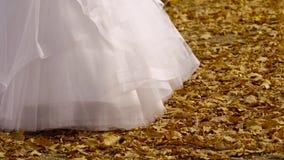 Brud- klänning som vaggar i höst stock video